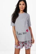 boohoo Maternity Abigail Mini Me PJ Set grey