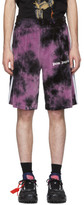 Palm Angels Black and Purple Chenille Tie-Dye Shorts