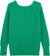 Maje Cutout Ribbed-knit Sweater - Forest green