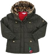 Little Marc Jacobs Cotton Gabardine & Faux Shearling Parka