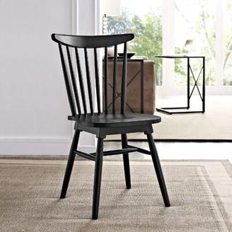 Modway Amble Solid Wood Slat Back Side chair Color: Black