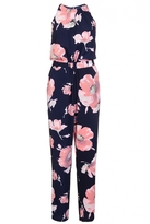 Quiz Navy And Pink Flower Print High Neck Jumpsuit