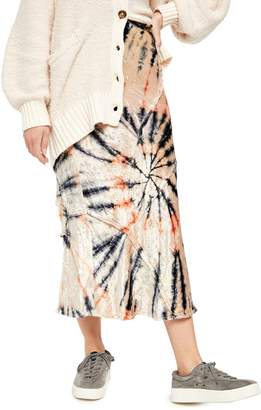 Free People Serious Swagger Tie-Dyed Crushed Velvet Midi Skirt