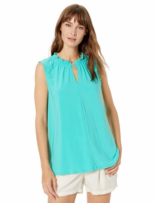 Chaus Women's S/L Smocked Neck Top