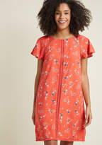 Whimsical Wildflowers Shift Dress in Coral in 3X - Short Sleeve Knee Length by ModCloth