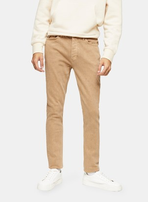 Topman Tan Wash Stretch Skinny Jeans