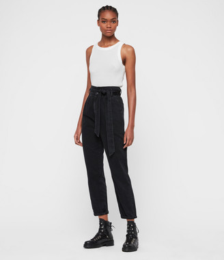 AllSaints Ralita High-Rise Cropped Jeans, Black