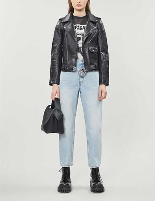 Maje Western slim-fit leather jacket