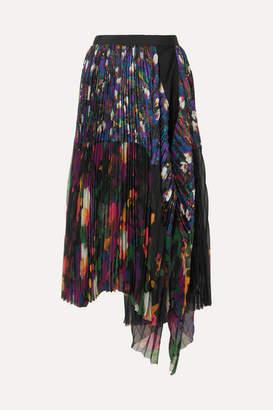 Sacai Draped Pleated Floral-print Satin And Chiffon Midi Skirt - Black