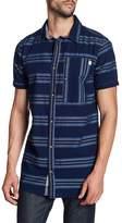 Triple Five Soul Stripe Print Regular Fit Shirt