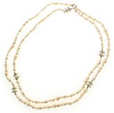 Chanel Ivory & Gold Tone Metal Faux Pearl CC Logo Necklace