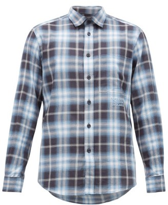 Burberry Logo-embroidered Checked Cotton Shirt - Navy