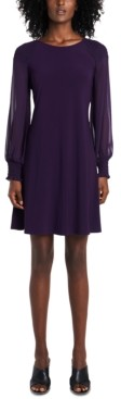 MSK Smocked Sheer-Sleeve A-line Dress
