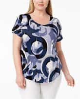 Alfani Plus Size Printed Scoop-Neck Top, Created for Macy's