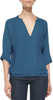 Joie Marru Pintuck-Front Silk Blouse