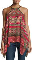 Romeo & Juliet Couture Sheer Woven Halter Top, Red/Multi