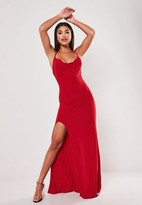 Missguided Red Slinky Cowl Neck Split Detail Maxi Dress