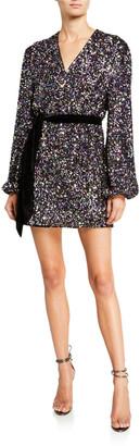Jay Godfrey Polly Sequin Long-Sleeve Mini Wrap Dress w/ Tie Waist