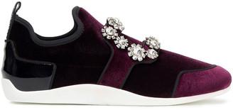 Roger Vivier Patent Leather-trimmed Embellished Velvet Slip-on Sneakers