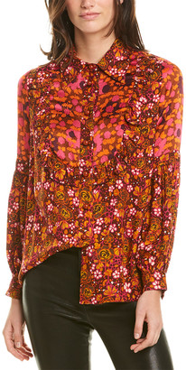 Anna Sui Begonia Blend Silk-Trim Top