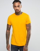 Asos T-Shirt With Roll Sleeve In Yellow