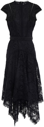 Costarellos Asymmetric Belted Guipure Lace And Point D'esprit Midi Dress