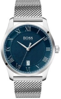 HUGO BOSS Stainless Steel Watch With Mesh Strap And Textured Blue Dial