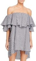 MLM Label Maison Gingham Off-The-Shoulder Ruffle Dress