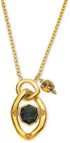 T Tahari Necklace, 14k Gold Plated Black Crystal Link Pendant Necklace