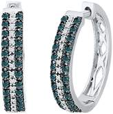 D-GOLD Sterling Silver and White Round Diamond Hoop Earring (1/3 Cttw)