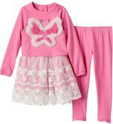 Nannette Toddler Girl Butterfly Heart Dress & Pants Set
