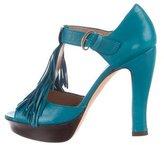 Pura Lopez Fringe-Accented T-Strap Sandals