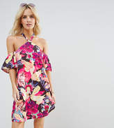 Asos Halterneck Cold Shoulder Sundress In Bright Floral Print