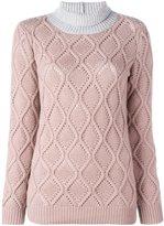 Agnona cashmere bicolour turtleneck pullover