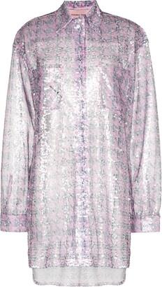 Natasha Zinko Sequinned Houndstooth-Print Shirt