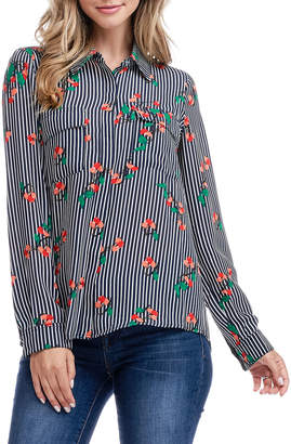 Fever Striped Cherry-Print Button-Front Shirt