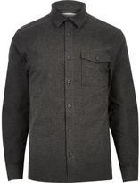 River Island MensCharcoal grey flannel shirt