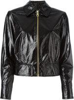 Lanvin cracked leather jacket - women - Lamb Skin/Cupro/Acetate - 36