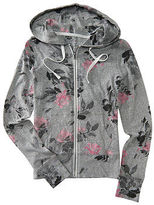 Aeropostale Womens Prince & Fox Roses Full-Zip Hoodie Gray