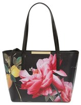 Ted Baker 'Small Citrus Bloom - Janelle' Printed Leather Shopper - Black