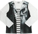 Junior Gaultier Leather Vest Print Cotton Jersey T-Shirt