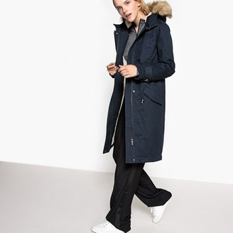 La Redoute Collections Long Hooded Parka with Faux Fur Lining