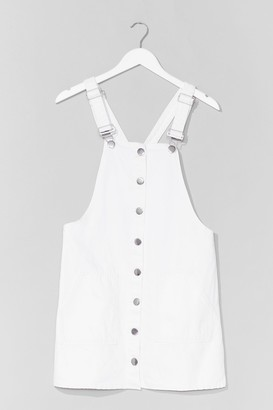Nasty Gal Womens What Do You Jean Denim Dungaree Mini Dress - Cream - 6