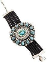 Roberto Cavalli Glass Statement Leather Bracelet