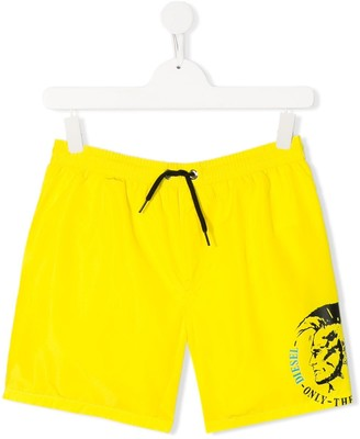 Diesel Only The Brave logo print swim shorts