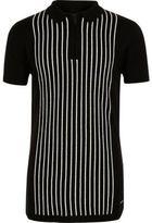 River Island Boys Black stripe knit zip polo shirt