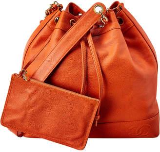 Chanel Orange Caviar Leather Medium Cc Bucket Bag