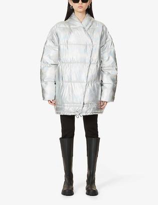 Designers Remix Lunga oversized metallic recycled shell jacket