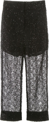Self-Portrait SEQUIN LACE TROUSERS 10 Black