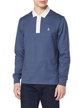 Original Penguin Men's Plain Rugby Shirt Long Sleeve Top Large (Size: L)